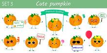 Set Of Ten Cute Kawaii Pumpkin...