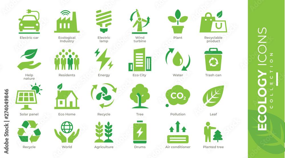 Fototapety, obrazy: icônes écologie