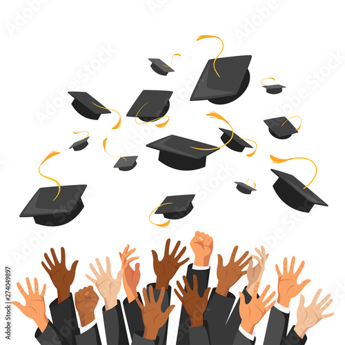 Photo University graduation traditional ceremony flat illustration