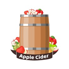 Autumn Apple Cider Barrel, Vineyard Greeting Card. Harvest Festival Vector Illustration. Fall Party Invitation. Thanksgiving, Apple Wine And Cyder Harvest Holiday, White Background Isolated.