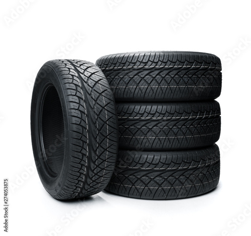 Fotografiet  Car tires isolated on white background. Summer car tires