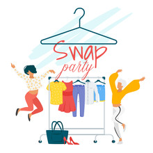 Swap Party Flat Vector Poster Template