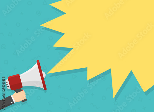 realistic red megaphone in hand with place for text in yellow dialog