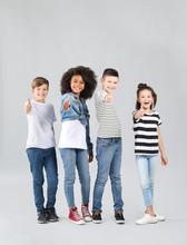 Stylish Children In Jeans Show...