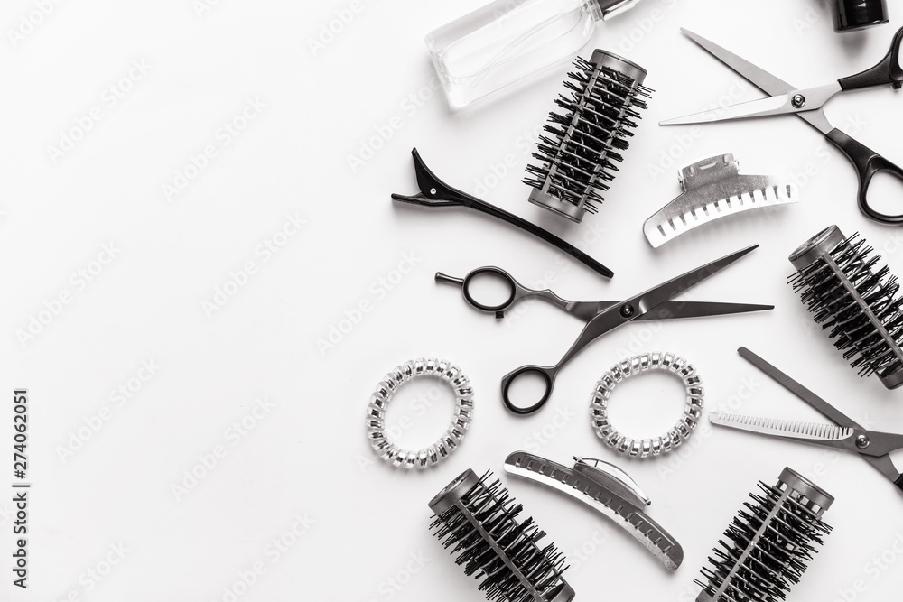 Fototapeta Set of hairdresser tools and accessories on white background
