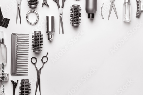 Photo  Set of hairdresser tools and accessories on white background