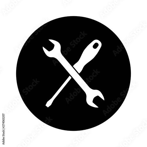 Fototapeta klucz i śrubokręt ikona obraz