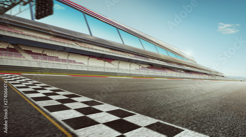 Photo Wide angle view empty asphalt international race track with start and finish line , motion blur effect apply
