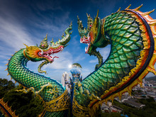 Naga Or Serpent Statue In Wat Khao Phra Kru Temple, Chonburi Province Thailand, The Belief Of Buddhism, Thai Temple