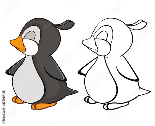 Poster de jardin Chambre bébé Vector Illustration of a Cute Cartoon Character Penguin for you Design and Computer Game. Coloring Book Outline Set