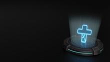 3d Hologram Symbol Of Cross Icon Render
