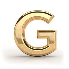 Golden Font, Letter G, 3d Rend...