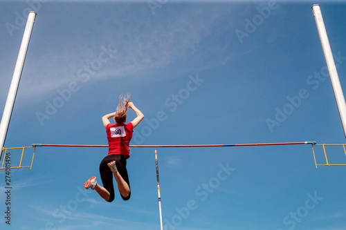 pole vault woman vaulter successful attempt in competition athletics Canvas Print