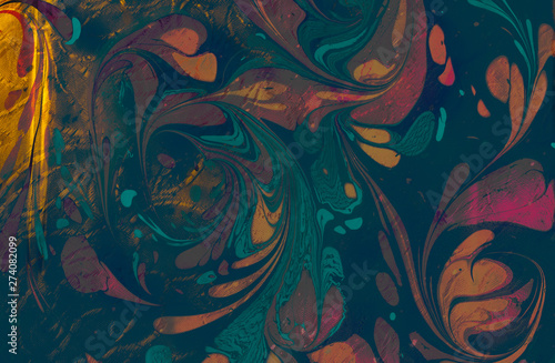 Fotografia  Abstract grunge art background texture with colorful paint splashes