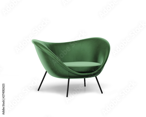 3d rendering of an Isolated modern green velvet lounge armchair