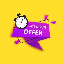 Black Last Minute Offers, Now Advertisement Label