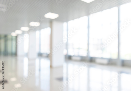Blurred Defocused Bokeh Background Of Exhibition Hall Or