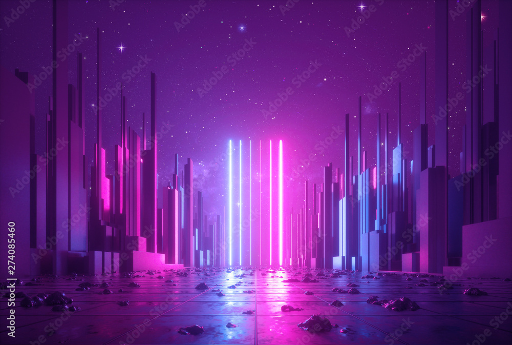 Fototapeta 3d abstract neon background, glowing ultraviolet vertical lines, cyber space, urban scene in virtual reality, empty street in fantastic city skyscrapers under the night sky, post apocalyptic concept