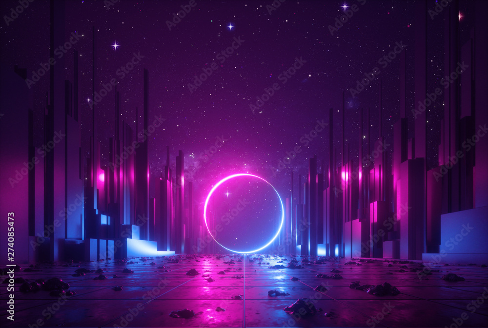 Fototapety, obrazy: 3d abstract neon background, cyber space virtual reality urban scene, glowing round shape portal at the end of the street, fantastic city, minimal skyscrapers, post apocalyptic concept, night sky