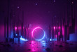 canvas print picture 3d abstract neon background, cyber space virtual reality urban scene, glowing round shape portal at the end of the street, fantastic city, minimal skyscrapers, post apocalyptic concept, night sky