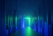 canvas print picture - 3d abstract neon background, glowing rectangular portal, vertical lines in cyber space, urban scene in virtual reality, empty road in fantastic emerald city, skyscrapers under the night sky