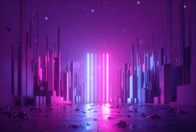 3d Abstract Neon Background, Glowing Ultraviolet Vertical Lines, Cyber Space, Urban Scene In Virtual Reality, Empty Street In Fantastic City Skyscrapers Under The Night Sky, Post Apocalyptic Concept