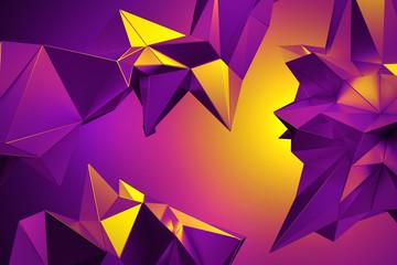 3d yellow purple neon abstr...