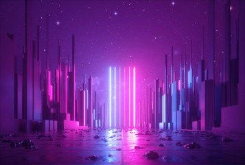3d abstract neon background...