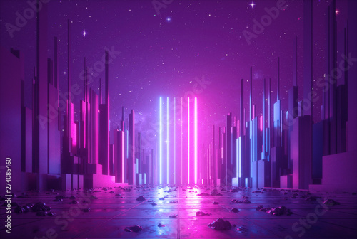 Poster Aubergine 3d abstract neon background, glowing ultraviolet vertical lines, cyber space, urban scene in virtual reality, empty street in fantastic city skyscrapers under the night sky, post apocalyptic concept