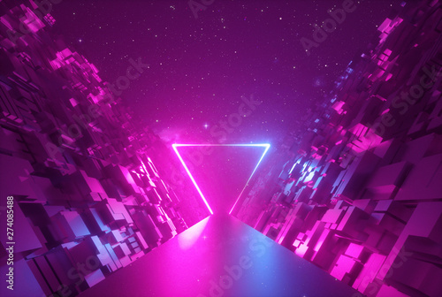 Poster Violet 3d abstract neon background, glowing triangular portal in cyber space, triangle shape, fantastic scene in virtual reality, road between walls of blocks under the night sky