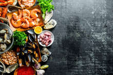 Assortment Of Different Seafood With Garlic, Herbs And Spices.
