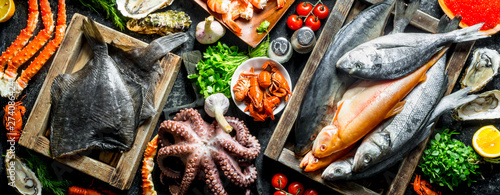 Various fish, octopus, shrimp and crayfish with herbs. Wallpaper Mural
