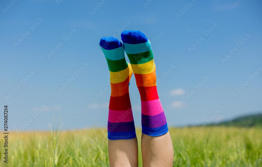 Fototapety, obrazy: female legs in LGBT socks raised up on a wheat field