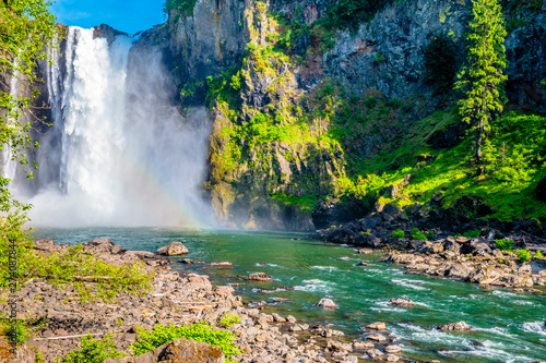 Photo Stands Forest river Clear Skies and Double Rainbow Over Snoqualmie Falls in Washington