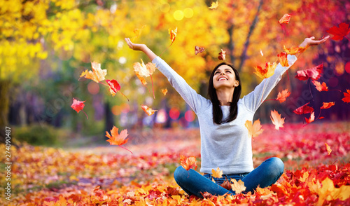 Obraz Happy Woman Enjoying Life in the Autumn on the Nature - fototapety do salonu