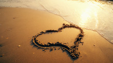 Hart Shape Drawn On Beach Sand...