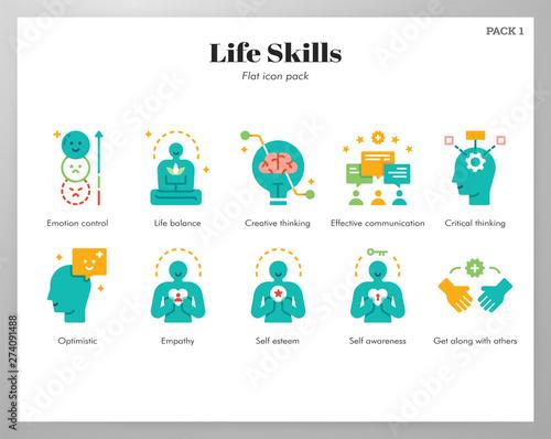 Fotomural Life skills icons flat pack