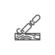 Chisel Plowing A Wood Plank Line Icon. Linear Style Sign For Mobile Concept And Web Design. Handle Wooden Chisel Outline Vector Icon. Woodworking Symbol, Logo Illustration. Vector Graphics