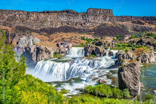 Foto auf Leinwand Wasserfalle Beautiful Morning With Double Rainbows at Shoshone Falls in Twin Falls Idaho