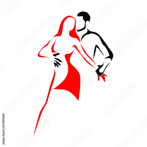 Leinwand Poster Salsa dance school logo. Couple dancing latin music