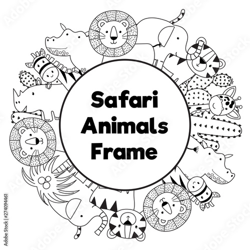 Safari animals black and white circle frame