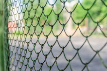 Old Metal Fence Chain Links On...