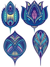 Beautiful Collection Of Vectorpeacock Feathers. Stylized, Vector Peacock Feathers