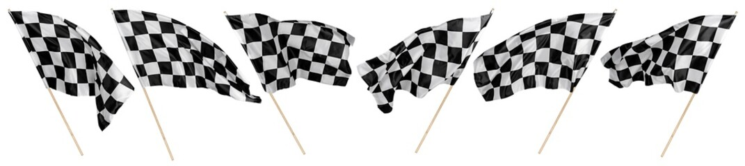 Set collection of waving black white chequered flag wooden stick motorsport sport and racing concept isolated background