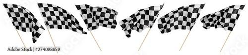 Obraz na płótnie Set collection of waving black white chequered flag wooden stick motorsport spor