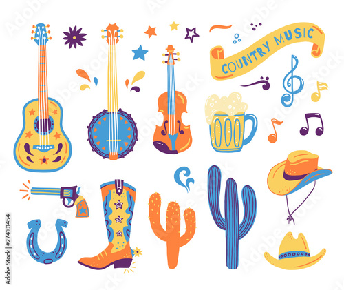 Obraz Vector hand drawn concept for postcards or festival banners for country music festival. Wild West illustration of a set with guitar, cacti, gun, horseshoe, hat and boot - fototapety do salonu