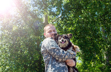 The Soldier Hugs The Dog. The Soldier Returned Home