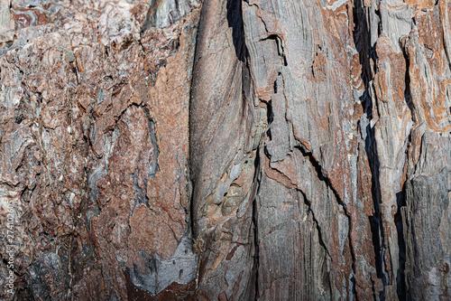 Fotografia Textura da rocha em camadas, que lembram a casca de uma árvore