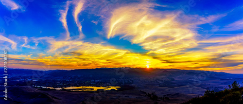 Panoramic Sunset over Valley, Lake, City