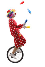 Clown On A Unicycle Juggling W...